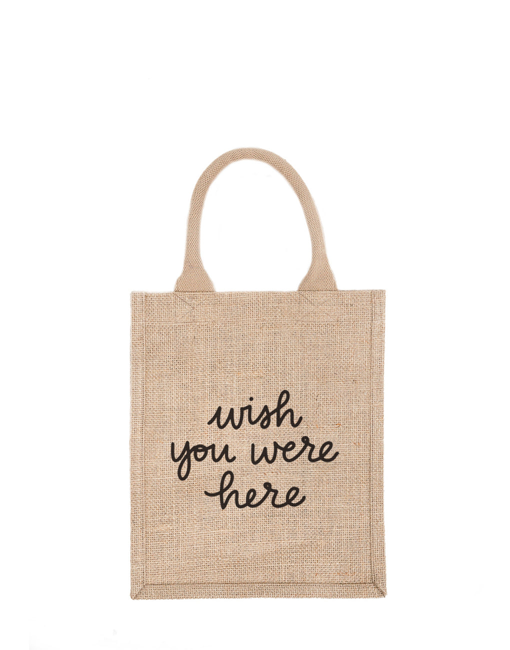 Medium Wish You Were Here Reusable Gift Tote In Black Font | The Little Market