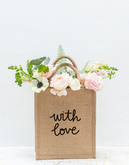 Medium With Love Reusable Gift Tote In Black Font With Flowers | The Little Market