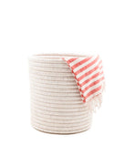 White Woven Bath Bin With Hand Towel | The Little Market