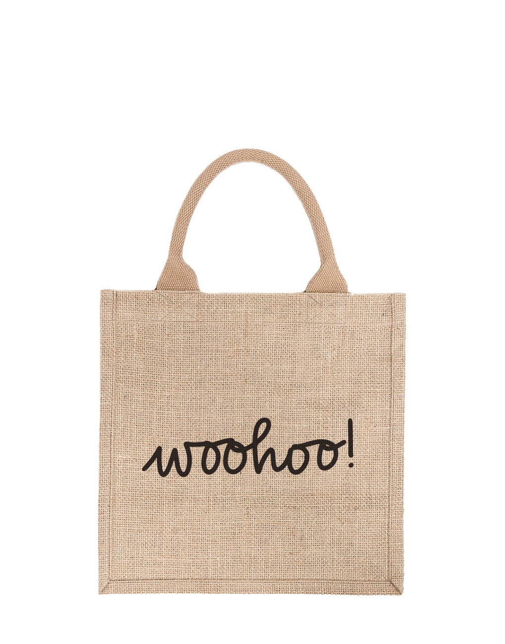 Large Woohoo! Reusable Gift Tote In Black Font | The Little Market