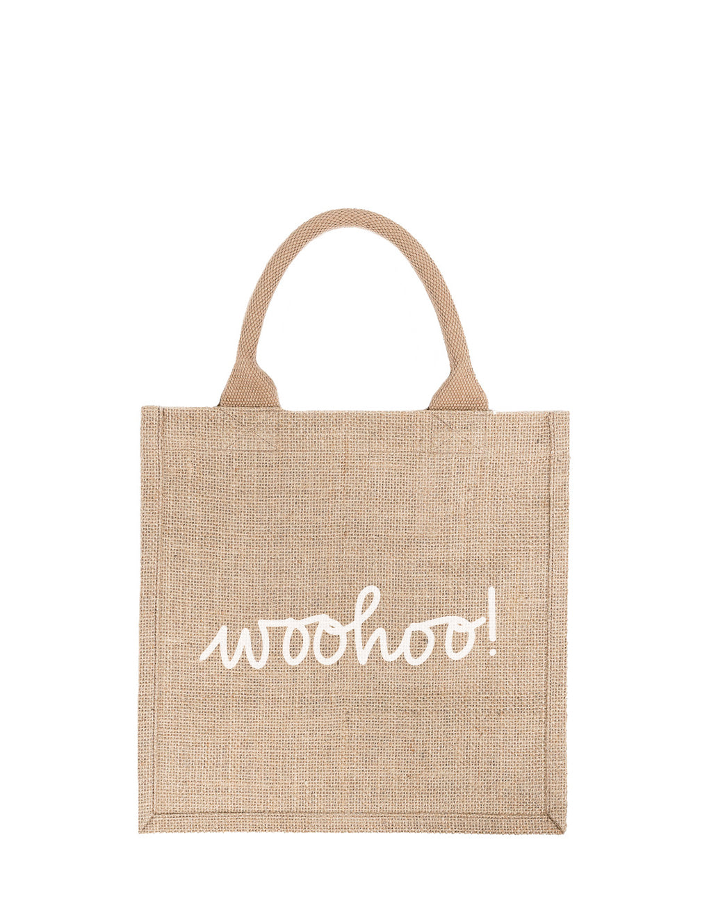 Large Woohoo! Reusable Gift Tote In White Font | The Little Market