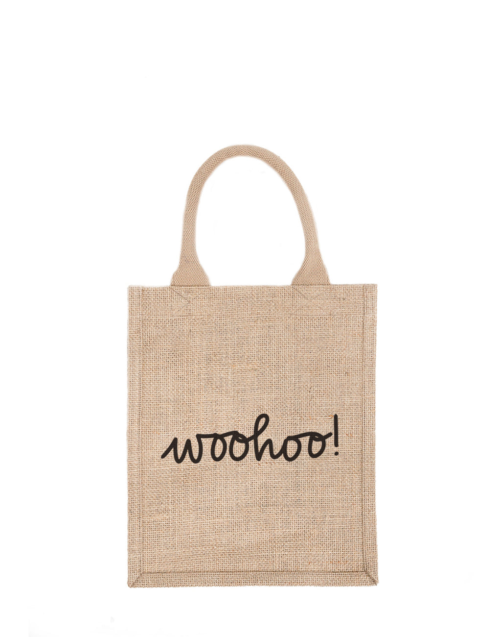 Medium Woohoo! Reusable Gift Tote In Black Font | The Little Market