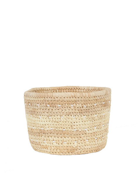 Woven Basket with Bead Dots