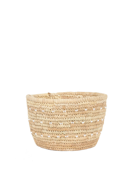 Fair Trade Hand-woven natural tan basket with bead embellishment