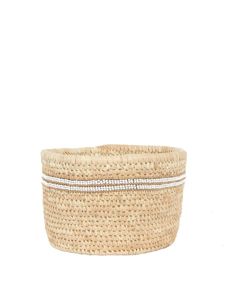Woven Basket with Bead Stripes