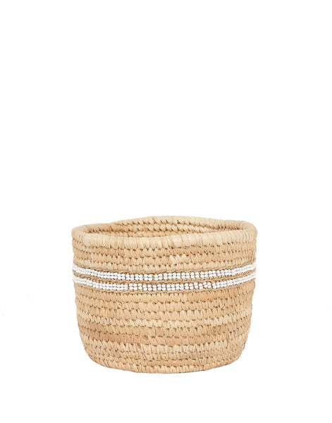 Fair Trade Hand-woven natural tan basket, bead stripe embellishment