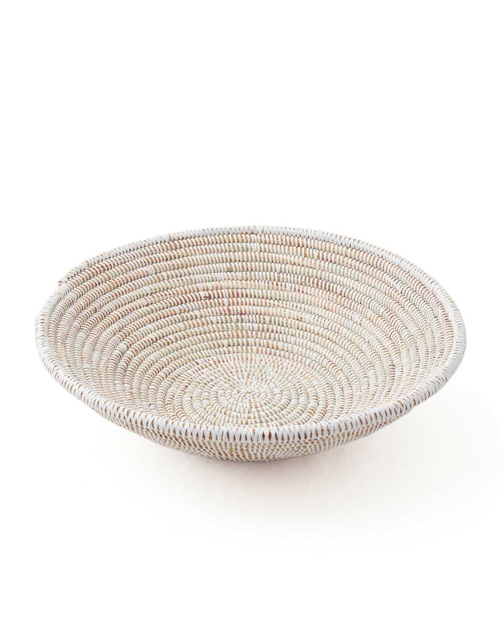 Handwoven Grass Recycled Plastic Fruit Bowl Fair Trade White