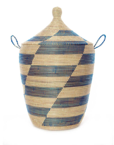 XL Whimsical Hamper - Blue Herringbone