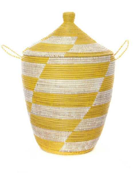 XL Whimsical Hamper - Yellow Herringbone