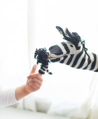 Zebra Knitted Finger Puppet, Fair Trade