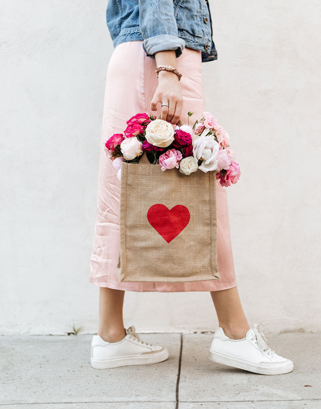 Red Heart Medium Gift Tote Bag with Flowers inside | The Little Market