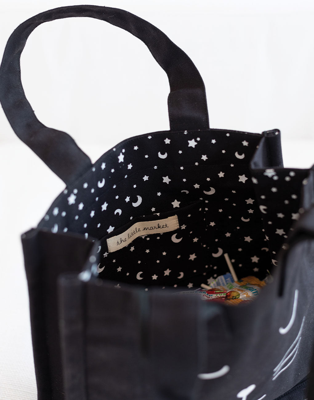 Canvas Cat Tote - Black | The Little Market