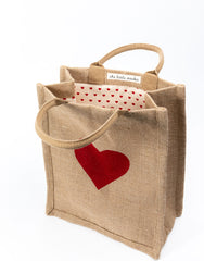 Red Heart Medium Gift Tote Bag with Red Heart-Dot Canvas Interior | The Little Market