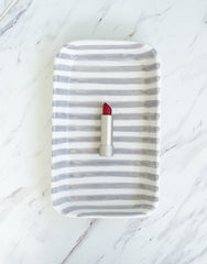 Striped Ceramic Tray - Gray