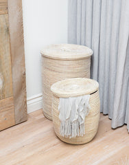 Fair Trade Hand-woven White Storage Hamper