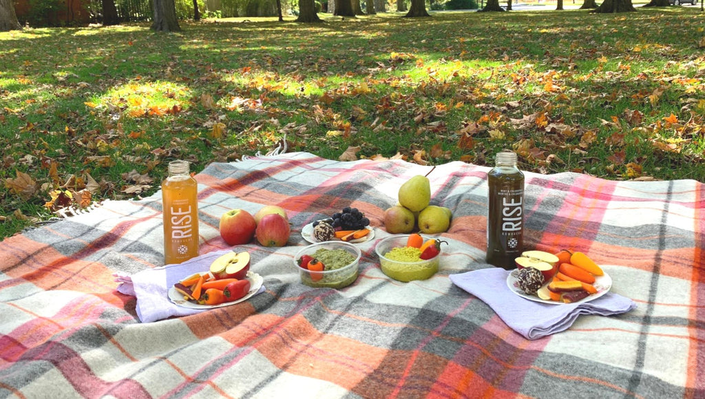 Fall picnic in Victoria Park Kitchener featuring healthy snacks from Legacy Greens Grocery Store