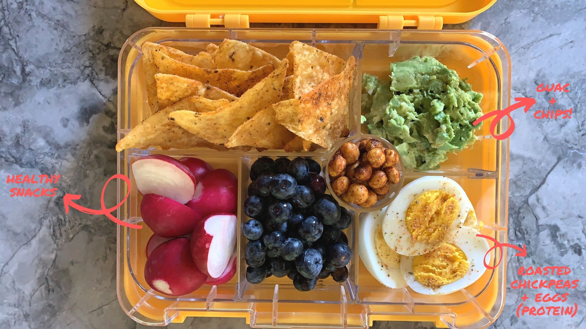 Guacamole and chips bento box idea from Legacy Greens grocery store downtown Kitchener