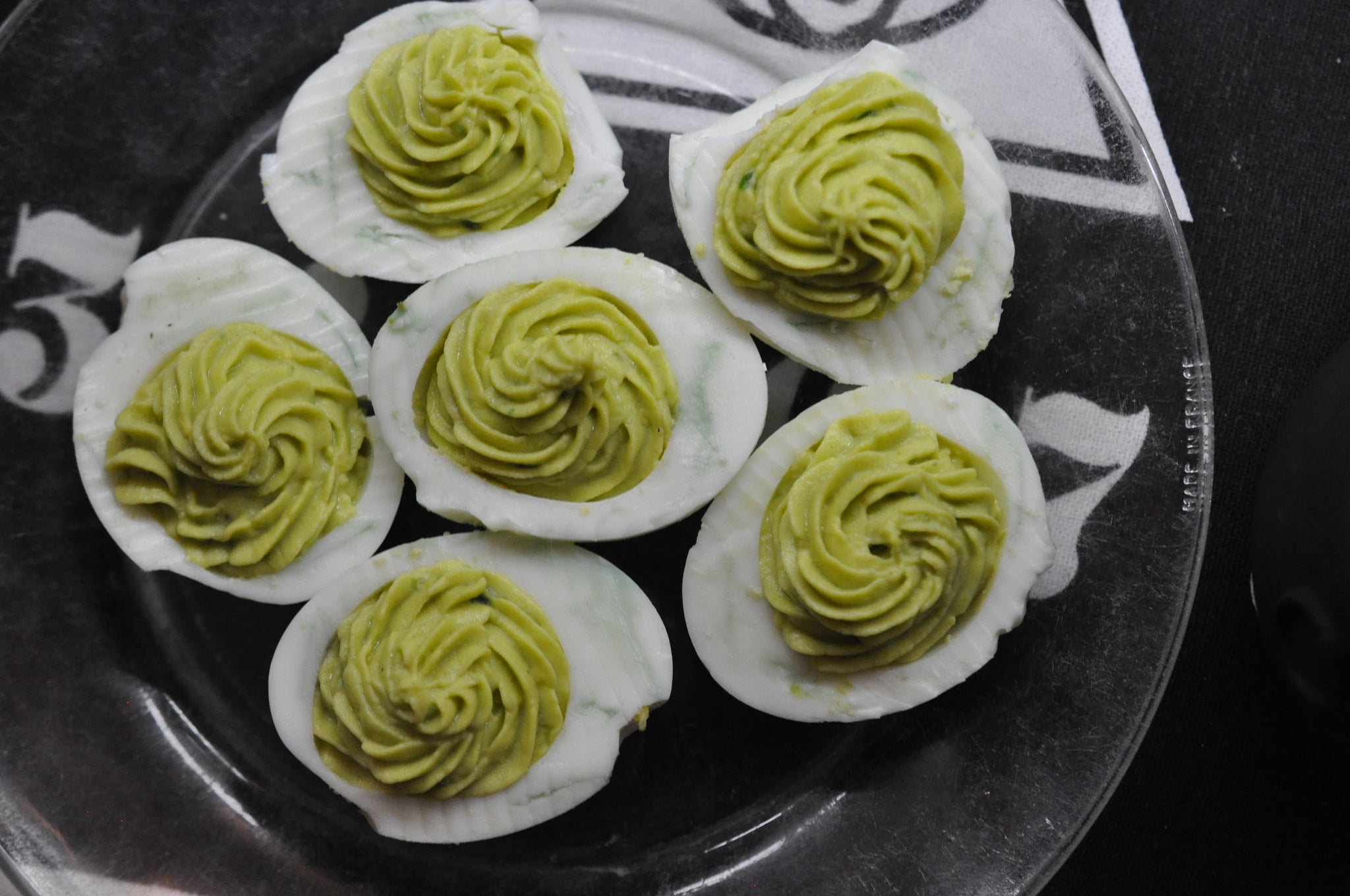 Spicy avocado devilled eggs by Legacy Greens Grocery Store in downtown Kitchener