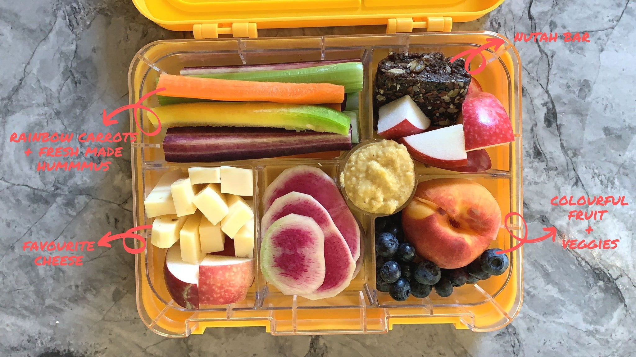 Fruit and vegetable bento box lunch idea from Legacy Greens grocery store in downtown Kitchener