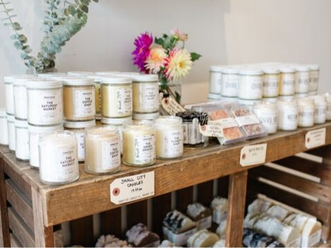 Gift ideas in downtown Kitchener including candles, soaps, and greeting cards