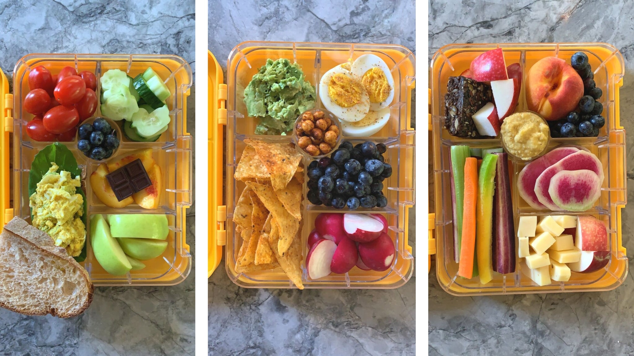 Three health bento box lunch ideas from Legacy Greens grocery store in downtown Kitchener