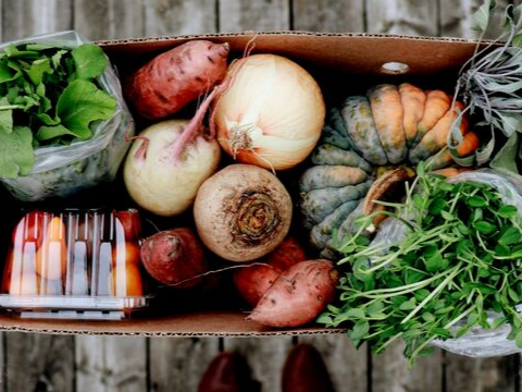 Weekly produce box subscription featuring local fruits and vegetables from Ontario