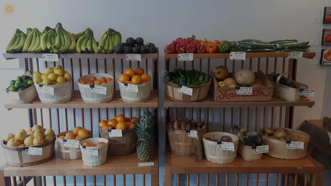 Grocery store in downtown Kitchener stocked with fresh produce and local foods