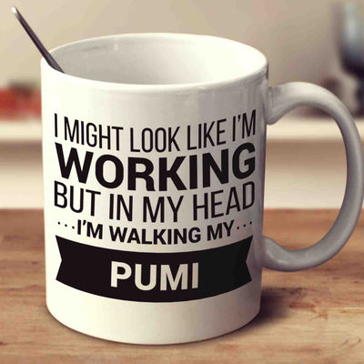 I Might Look Like I'm Working But In My Head I'm Walking My Pumi