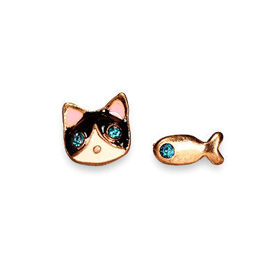 Stud Earring Fish and cat - Oksinya - 1
