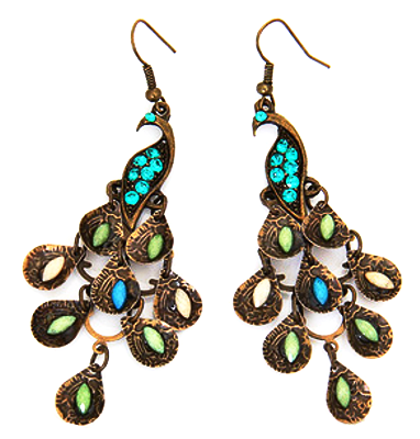 Earrings Peacock - Oksinya