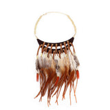 Feather Statement Boho Necklace - Oksinya - 1