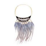 Feather Statement Boho Necklace - Oksinya - 2