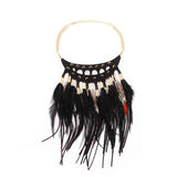 Feather Statement Boho Necklace - Oksinya - 3