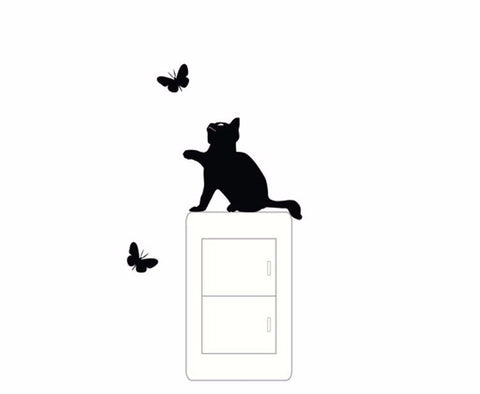 Cat and Butterflies Switch Sticker - 2 Pack - 25 Main Street  - 1