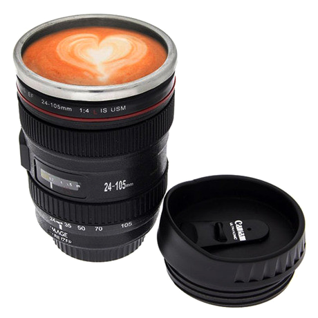 SLR Camera Lens Stainless Steel Travel Coffee Mug with Leak-Proof Lid - 25 Main Street  - 1