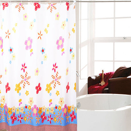 Waterproof Fabric Shower Curtain - Colorful Flower Design - 25 Main Street