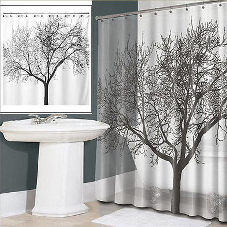 Waterproof Fabric Shower Curtain - Tree Design - 25 Main Street  - 1