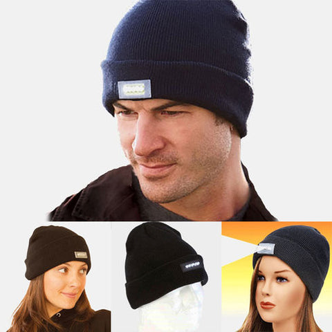 Unisex Knitted Beanie With Built-In 5 LED Flashlight - 25 Main Street  - 1