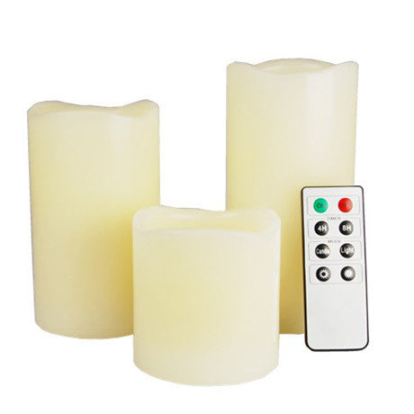 "3-Piece LED Wax Candle Set w/ Built-In Timer & Remote Control – Includes 2"", 3"" & 4"" Wax Candles - 25 Main Street  - 1"
