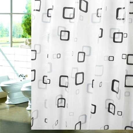 Waterproof Fabric Shower Curtain - Small Square Design - 25 Main Street