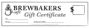 Brewbakers Gift Certificate
