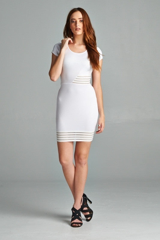 White Scuba Bodycon Dress - Yolaboutique
