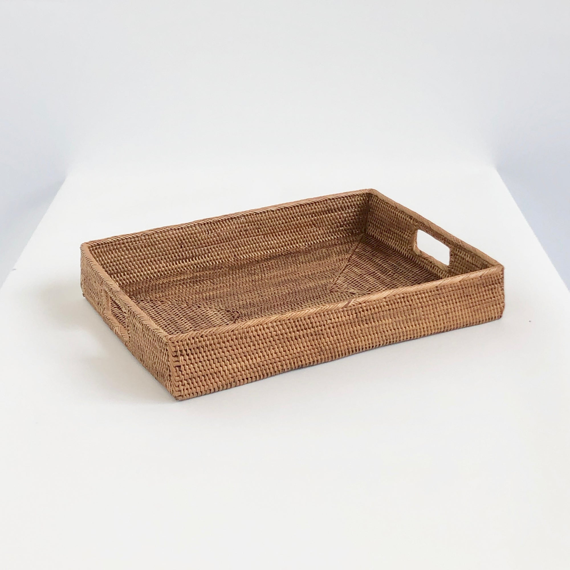 Hand-woven rectangular tray with handles