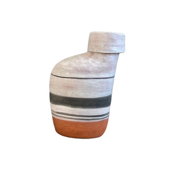 Striped Milk Jug - White, Charcoal, Natural
