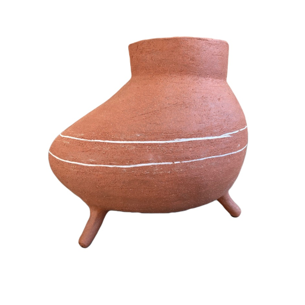 Phoenician Vase Medeo - Red Clay with Porcelain Inlay