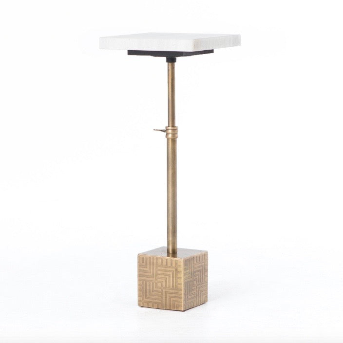 Meander Accent Table / Antique Brass & Marble