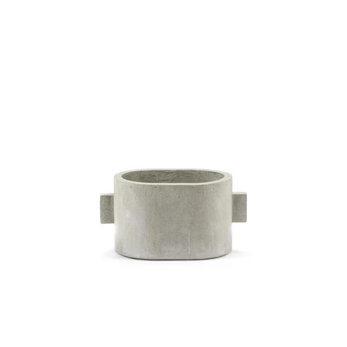 Modern Concrete Straight Handle Pot - Small Oval