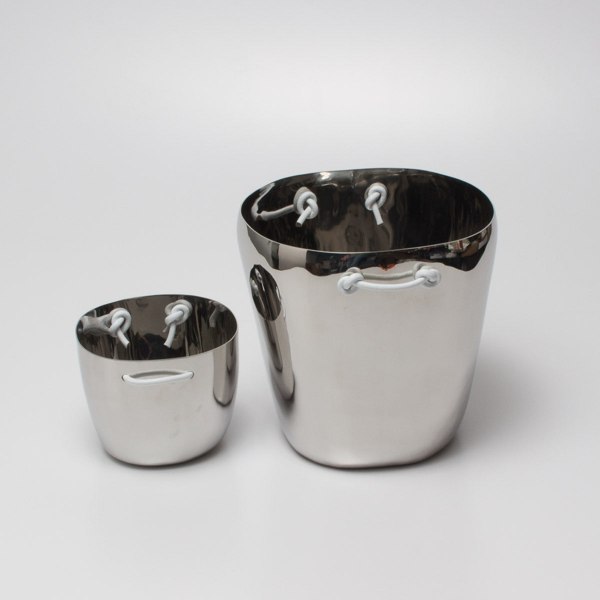 Stainless Steel Ice Bucket with Leather Handles