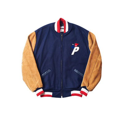 Ebbets Field Wool / Suede Varsity Jacket Brown / Navy