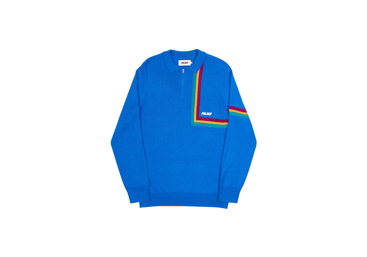 ANGLE STRIPE ZIP KNIT BLUE